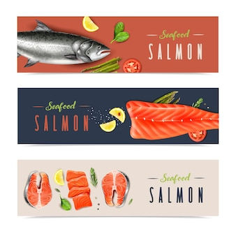 Bannières horizontales réalistes de fruits de mer avec tranches de saumon entier et haché, romarin, menthe et citron