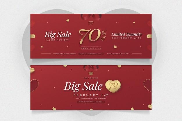 Bannières horizontales réalistes de la saint-valentin