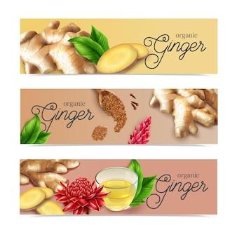 Bannières horizontales réalistes de thé au gingembre