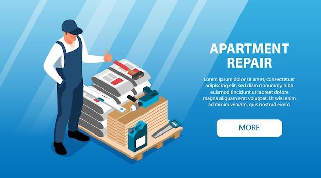 Bannières horizontales de réparation appartement isométrique définir la page de destination