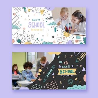 Bannières horizontales de retour à l'école dessinées à la main avec photo