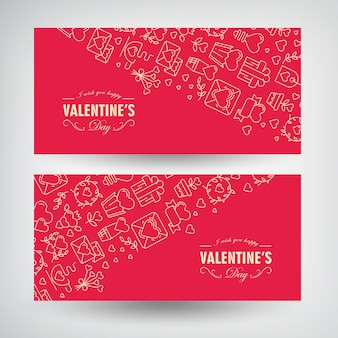Bannières horizontales romantiques festives saint valentin avec inscriptions et illustration traditionnelle doublée