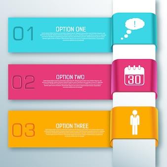 Bannières horizontales de ruban web infographique coloré