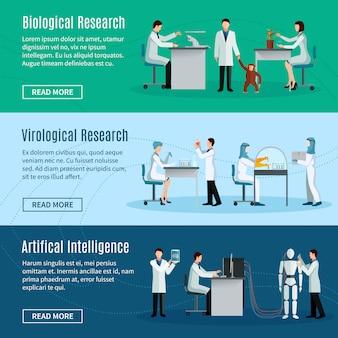 Bannières horizontales scientifiques avec des scientifiques rendant l'intelligence biologique virologique et artificielle