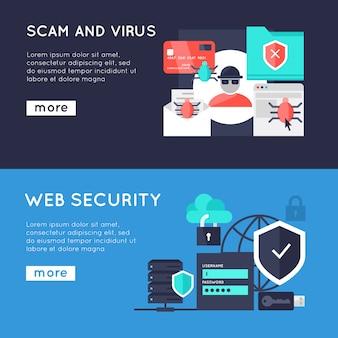 Bannières horizontales de sécurité informatique