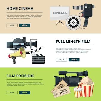 Bannières horizontales serties de compositions de cinéma
