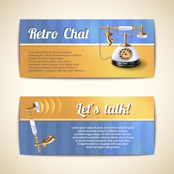 Bannières horizontales de téléphones anciens