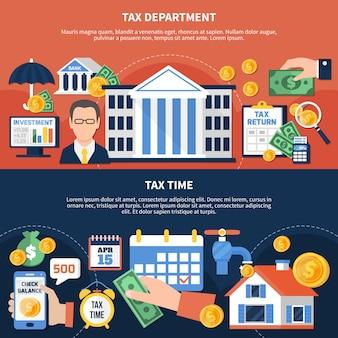Bannières horizontales de temps de taxe