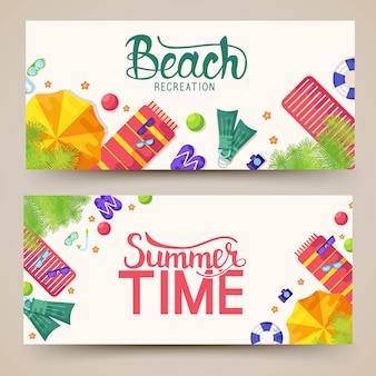 Bannières horizontales de temps de vecetion d'été.