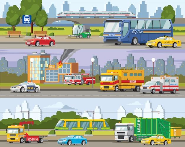 Bannières horizontales de trafic urbain moderne