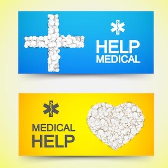 Bannières horizontales de traitement médical avec des pilules de médicaments blancs en forme de croix et illustration de coeur