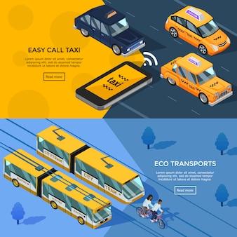 Bannières horizontales de transport isométrique