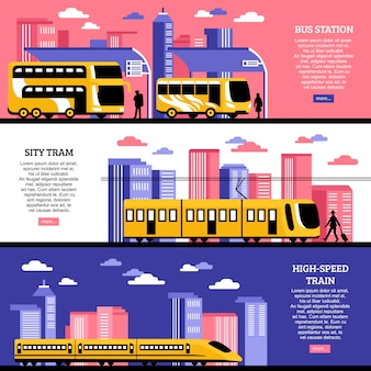 Bannières horizontales de transport en ville