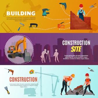 Bannières horizontales des travailleurs de la construction