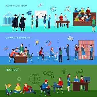 Bannières horizontales universitaires avec des étudiants en apprentissage de la recherche et de l'obtention du diplôme