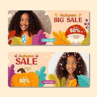 Bannières horizontales de vente d'automne de dessin animé sertie de photo