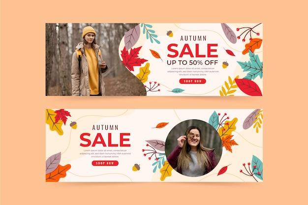 Bannières horizontales de vente d'automne plat sertie de photo