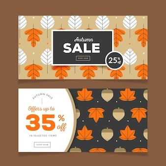 Bannières horizontales de vente d'automne
