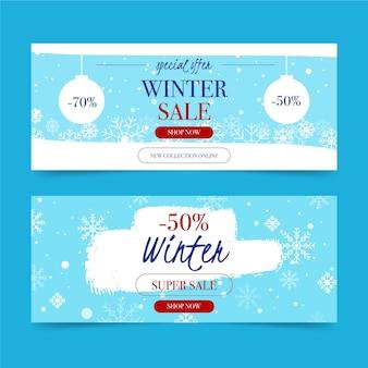Bannières horizontales de vente plat hiver