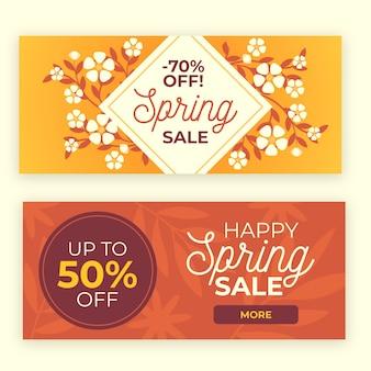 Bannières horizontales de vente de printemps plat avec remises