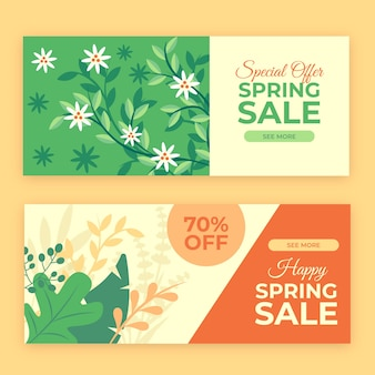 Bannières horizontales de vente de printemps plat