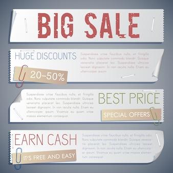Bannières horizontales de vente de publicité avec différentes inscriptions promotionnelles à acheter dans un style rétro