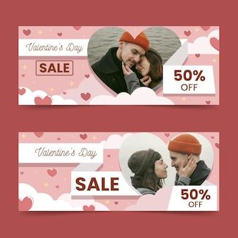 Bannières horizontales de vente saint valentin avec photo