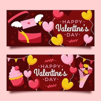 Bannières horizontales de vente de la saint-valentin