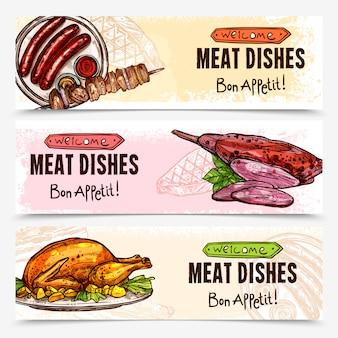 Bannières horizontales de viande dessinée à la main