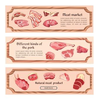 Bannières horizontales de viande naturelle dessinées à la main