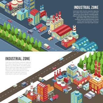 Bannières horizontales de zone industrielle