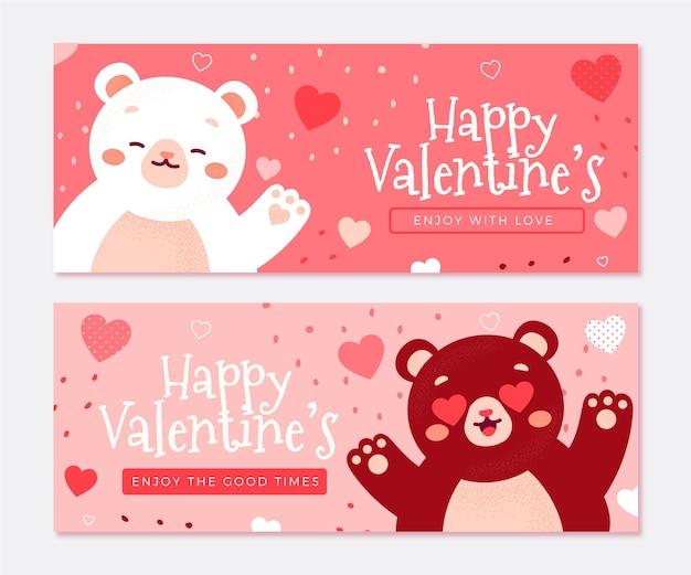 Bannières illustrées de la saint-valentin dessinées à la main