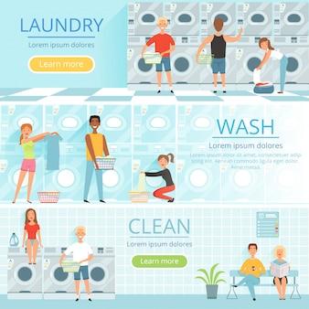 Bannières avec des images de lavage