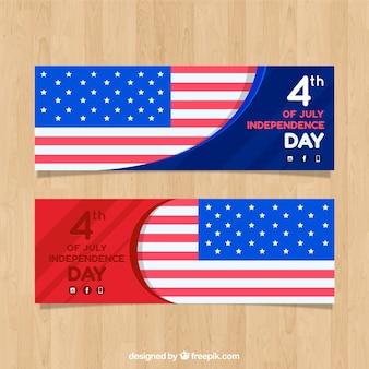 Bannières d'indépendance des états-unis avec un design plat