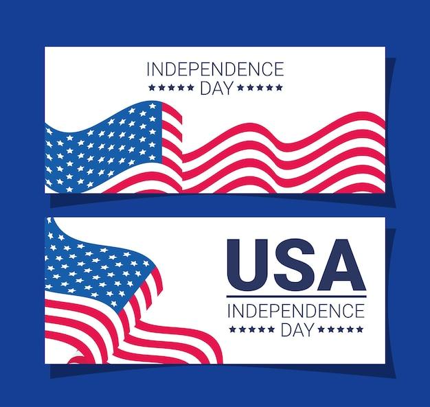 Bannières de l'indépendance des usa