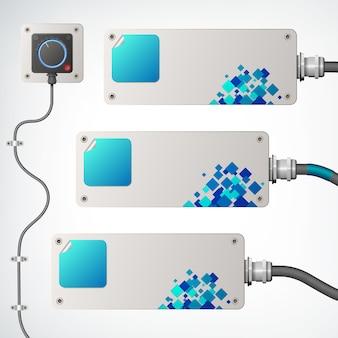 Bannières industrielles horizontales blanches et bleues avec prise et fils plats isolés