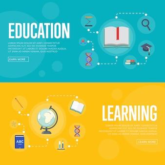 Bannières d'infographie de l'éducation