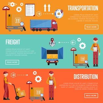 Bannières d'infographie de processus d'entrepôt