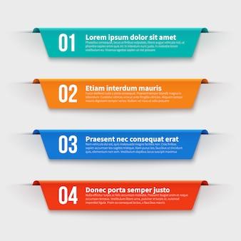 Bannières infographiques. étiquettes de couleur avec étapes et options définies