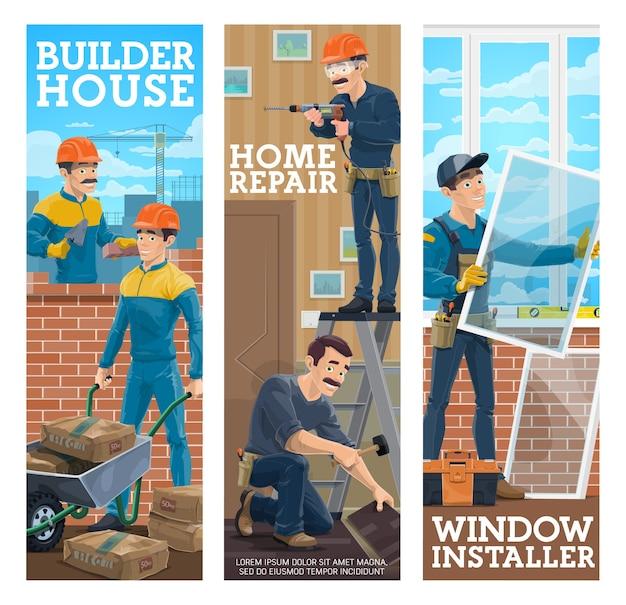 Bannières d'installation de fenêtre de constructeur de maison