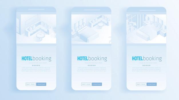 Bannières intérieures d'appartements modernes réservation en ligne