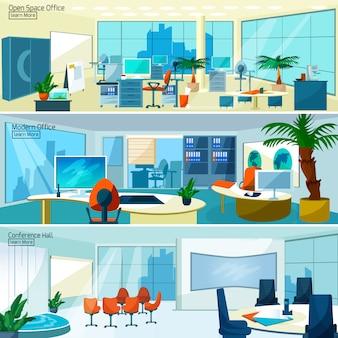 Bannières d'intérieurs de bureaux modernes