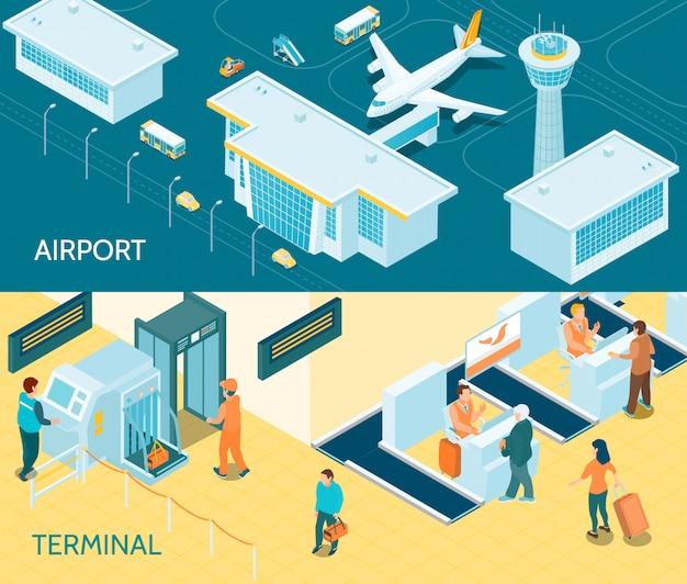 Bannières isométriques d'aéroport