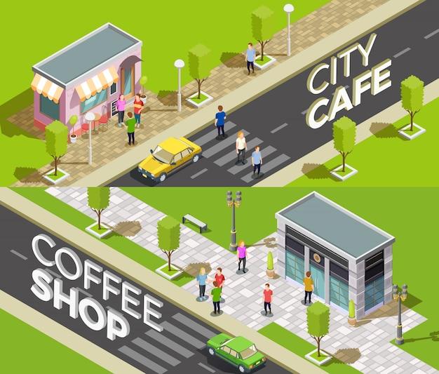 Bannières isométriques de café urbain