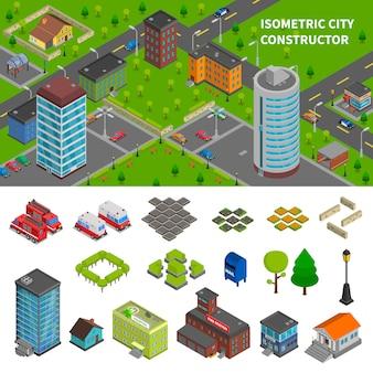 Bannières isométriques du constructeur de la ville