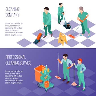 Bannières isométriques du service de nettoyage professionnel