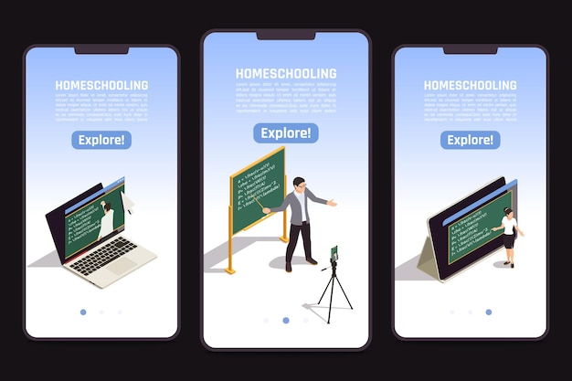 Bannières isométriques de l'éducation en ligne avec un enseignant enseignant une classe vidéo sur fond noir 3d