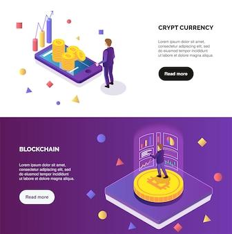 Bannières isométriques horizontales crypto-monnaie et blockchain sertie de personnes font de l'illustration vectorielle isolé 3d