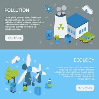 Bannières isométriques horizontales d'écologie