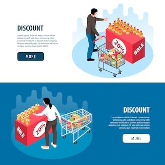 Bannières isométriques horizontales sertie de personnes achetant des produits à rabais au supermarché isolé
